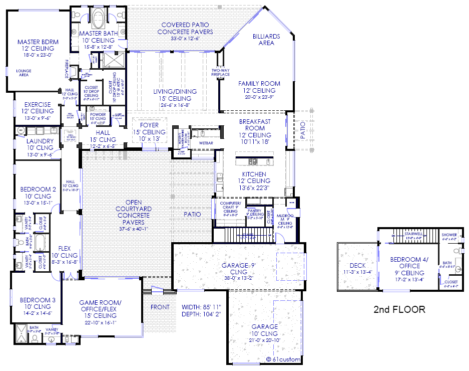 Modern house plans modern stock house plans for arizona for Custom home floor plans az