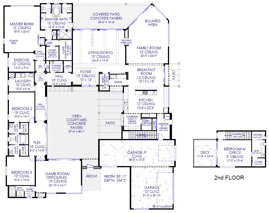 Modern house plans modern stock house plans for arizona for Custom home plans arizona