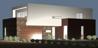 house plan night rendering